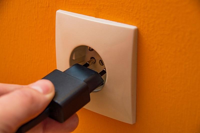 Plug conectado na tomada