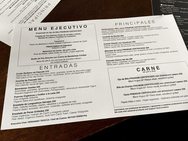 Menu executivo em Buenos Aires